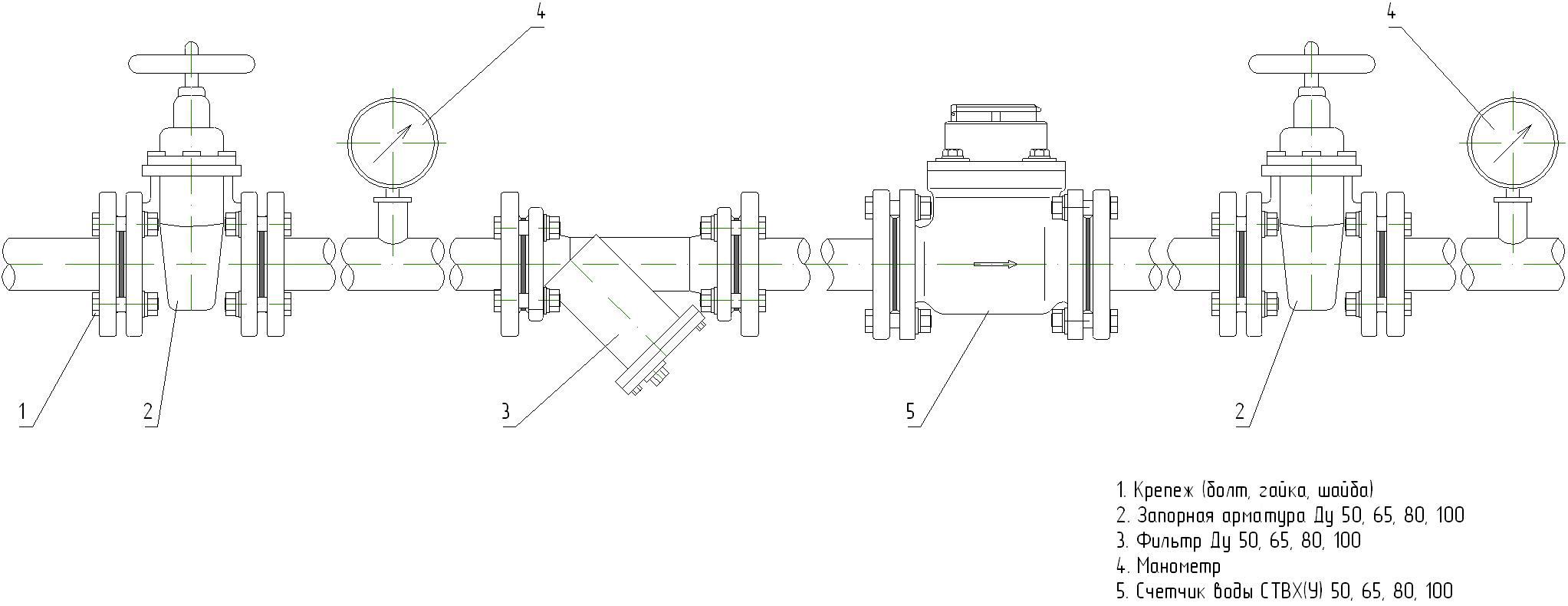 Монтажная схема счетчика воды СТВХ-50 ДГ